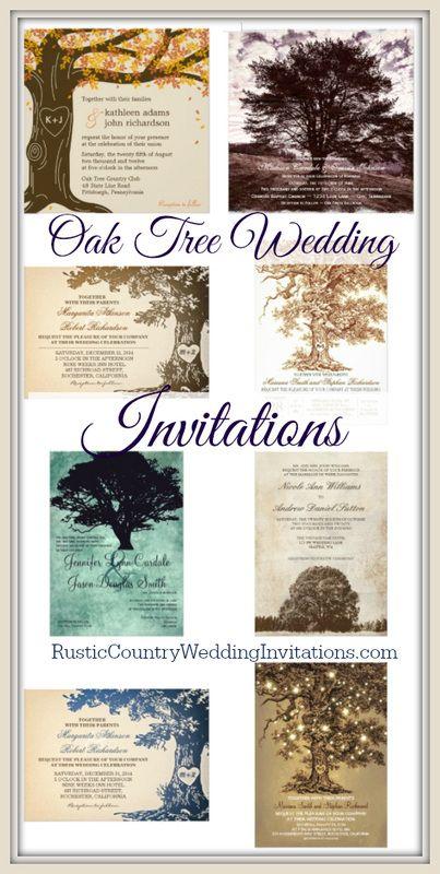 Rustic Oak Tree Wedding Invitations |  Rustic Country Wedding Invites @ www.RusticCountryWeddingInvitations.com