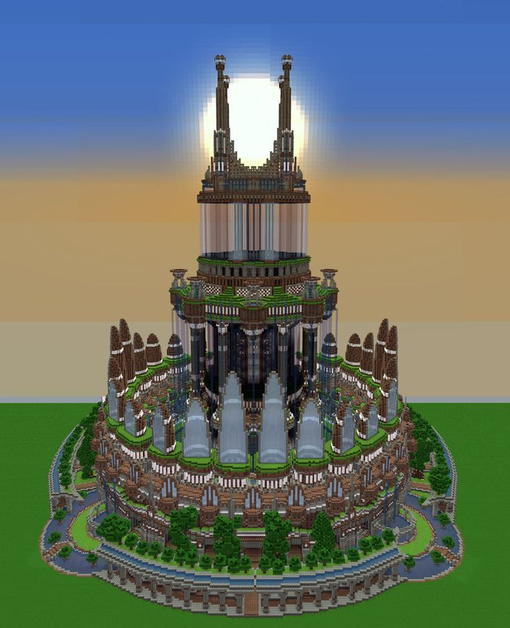Some kind of tower to the sky limit made in Minecraft. It was very hard to screenshot since its so large, i had to download optifine and put the render distance on something ridiculous. Built it on...
