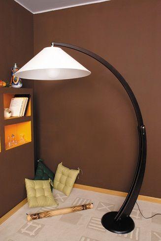Piantana ad arco regolabile wenge e paralume in tessuto - Lampade da terra, piantane - Illuminazione - Negozio Online - Tronitel