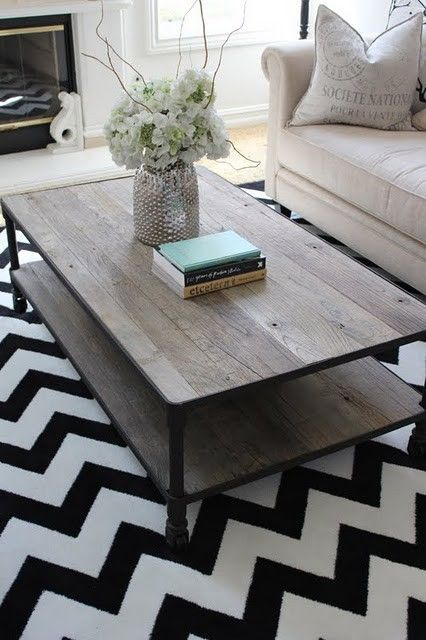 Distressed coffee table and neutral couch. Different rug though