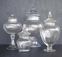 Confectionery vessels and containers for hire for weddings and events