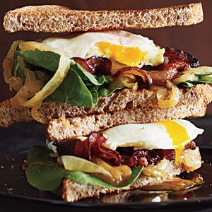 A- (made in November 2012 for Ryan's Bday Breakfast!) - Bacon and Egg Sandwiches with Caramelized Onions and Arugula | Cooking Light - Flavor was really good. Couldn't help myself and added cheese. Just more work than I typically do for an egg sandwich.