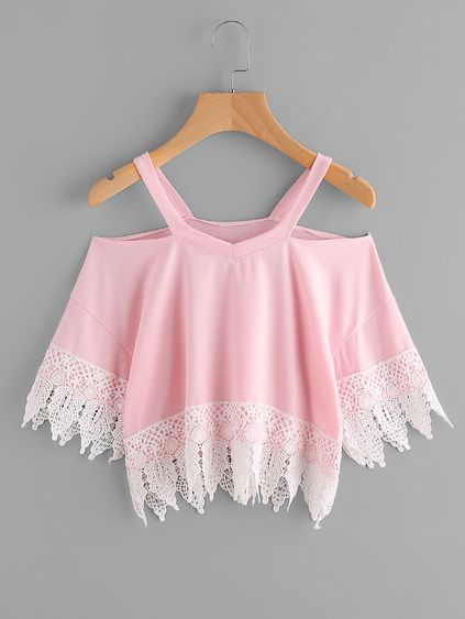 Open Shoulder Lace Hem Tee