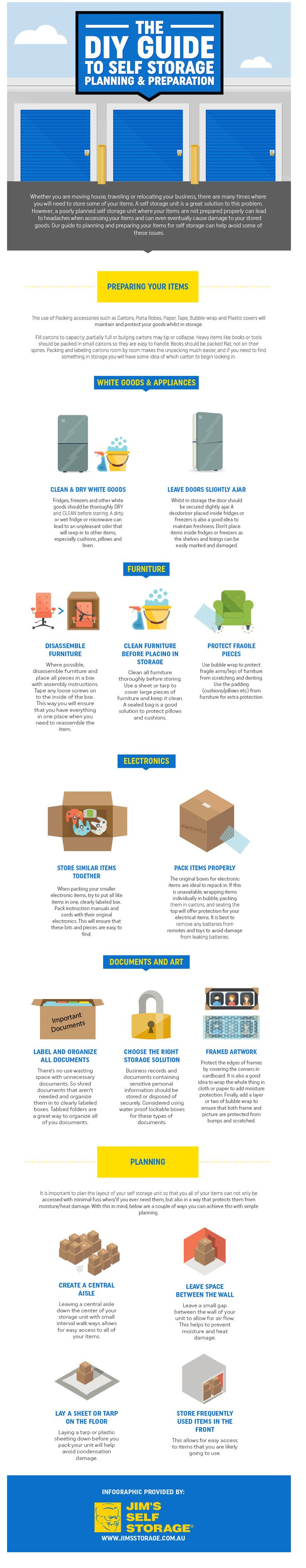 THE DIY GUIDE TO SELF STORAGE PLANNING & PREPARATION  Whether you are moving house, traveling or relocating your business, there are many times where you will need to store some of your items. A self storage unit is a great solution to this problem.  However, a poorly planned self storage unit where you items are not prepared properly can lead to headaches when accessing your items and can even eventually cause damage to your stored goods.