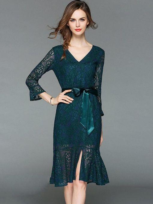 5eae1d94fe8 Vinfemass V-neck Solid Color Lacing Decor Lace Mermaid Party Dress ...