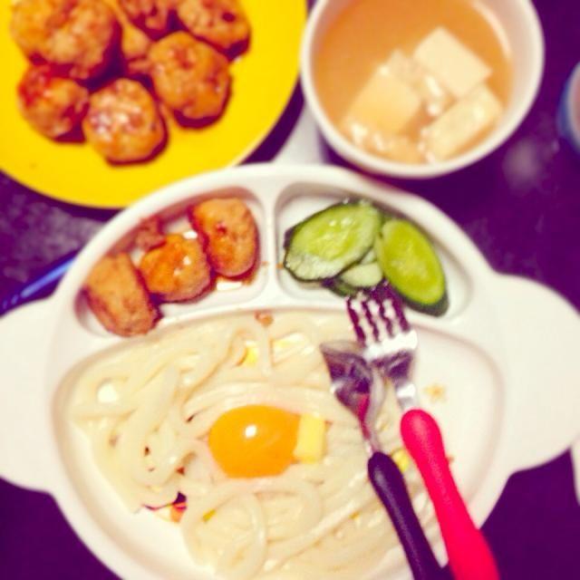 子どものためのプレートごはん - 6件のもぐもぐ - 釜玉バターうどん☆鶏つくねの照り焼き☆きゅうりの塩漬け☆豆腐と油揚げの味噌汁 by mamekoon