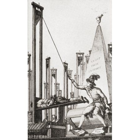 Cartoon showing Robespierre guillotining the executioner after having guillotined everyone else in France Maximilien Fran Canvas Art - Ken Welsh Design Pics (20 x 34)
