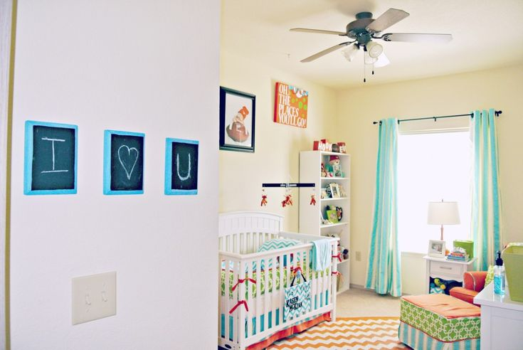 Bright and Cheerful Boy Nursery: Cheer Nurseries, Aqua Limes, Boys Nurseries, Nurseries Rooms, Projects Nurseries, Baby Rooms, Baby Cribs Beds, Bright Colors, Baby Nurseries