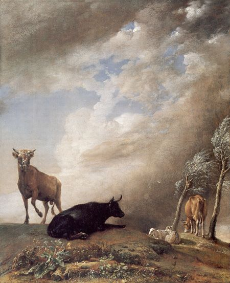 Cattle and Sheep in a Stormy Landscape, Paulus Potter