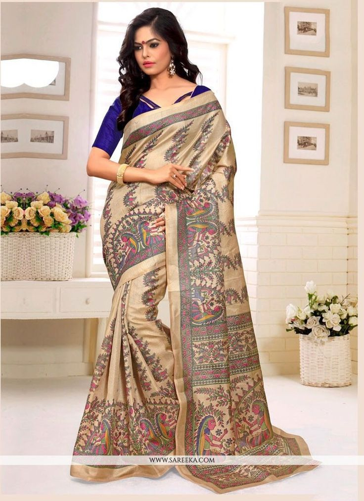 Vogue and pattern would be on the peak of your elegance after you dresses this multi colour silk casual saree. The ethnic print work on the attire adds a sign of elegance statement with a look. Comes ...