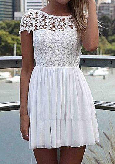 #SALE White Short Sleeve Hollow Floral Crochet Pleated Dress #Sheinside