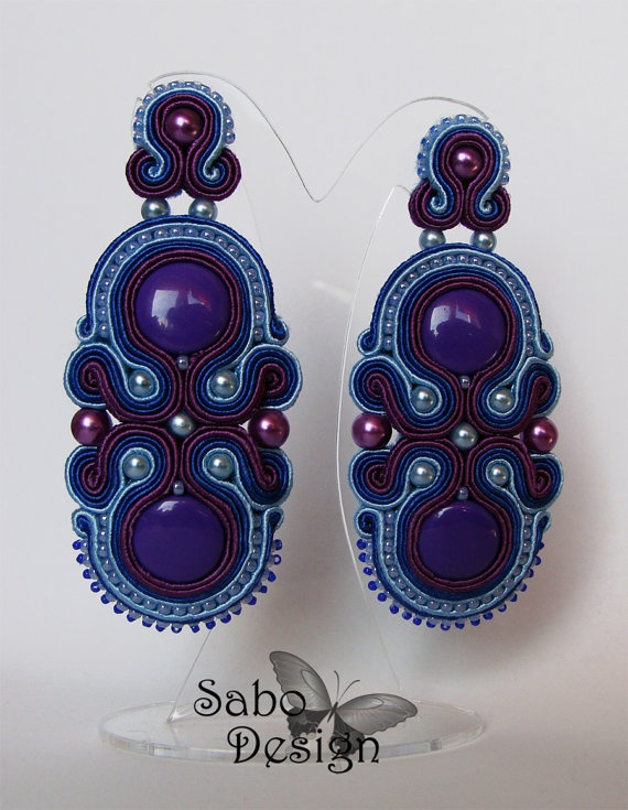 Big blue soutache earrings vintage handmade by SaboDesign on Etsy.