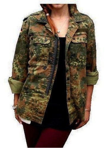 Vintage Women's F2 camo jacket coat surplus army door ChevaldeGuerre, I really want this