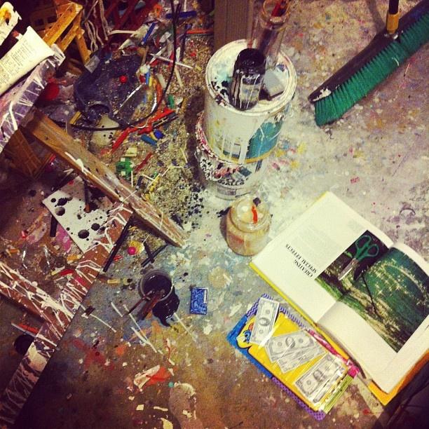 studio floor #messy #painting #garage #artspace #paint #drips