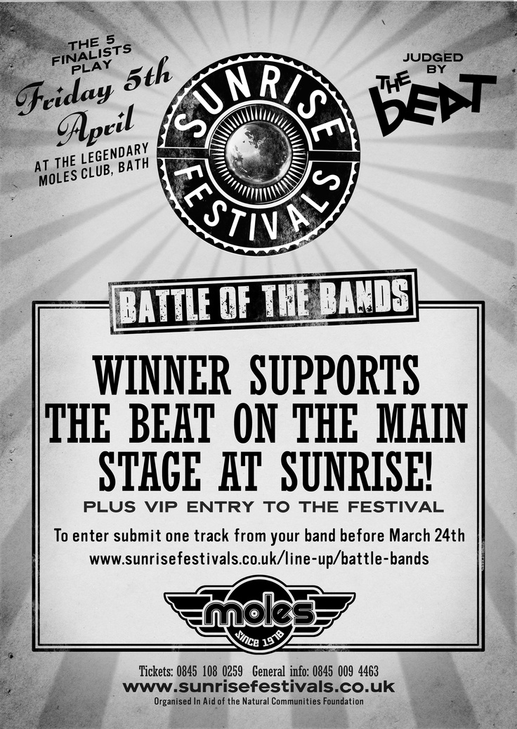Sunrise Battle Of The Bands competition...  More info on http://www.sunrisefestivals.co.uk/line-up/battle-bands