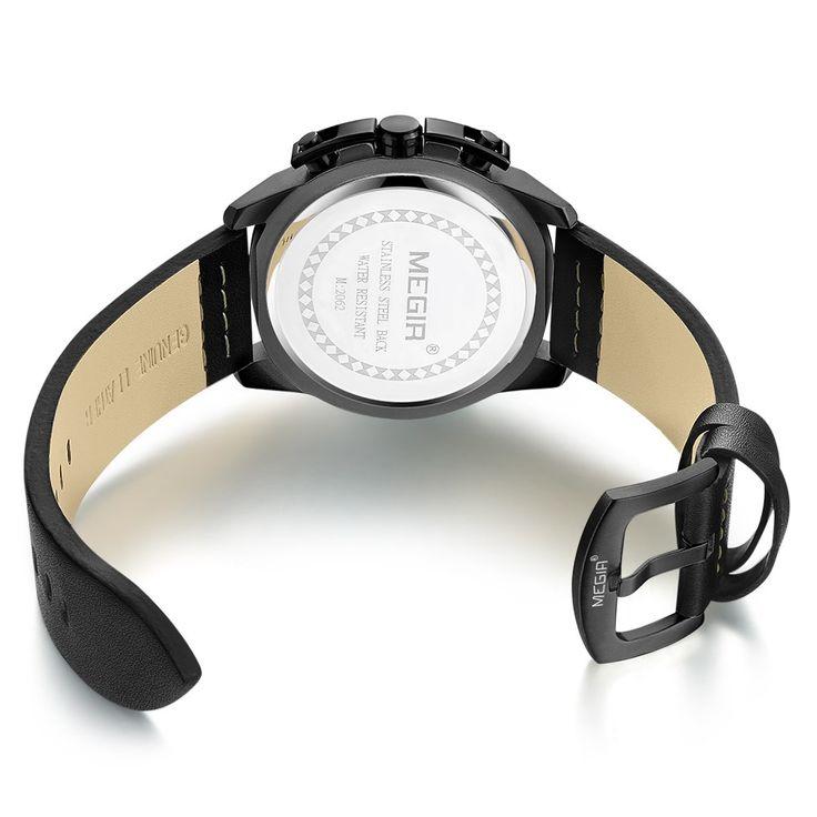 MEGIR Fashion Sport Men Watches 3ATM Water-resistant Quartz Sales Online black&blue - Tomtop.com