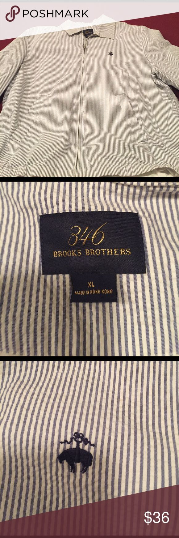 Men's Brooks Brothers Blue and White Jacket XL Men's Brooks Brothers zip up blue and white gingham zip up Jacket. Two pockets in front. Brand new without tags!!! Never worn size XL. For persons with distinguished taste. Brooks Brothers Jackets & Coats Lightweight & Shirt Jackets
