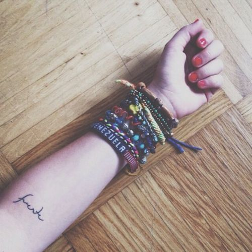 Little forearm tattoo saying 'Fuerte' on Musa Anoud Hernández. - Little Tattoos