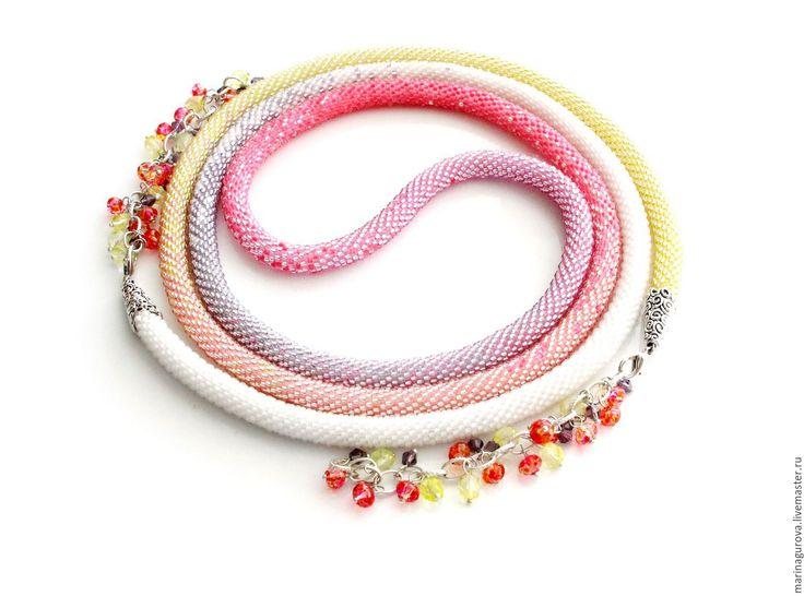 """Купить Лариат """"Леденец"""" - розовый, белый, желтый, сиреневый, весна, весеннее украшение, весеннее настроение"""