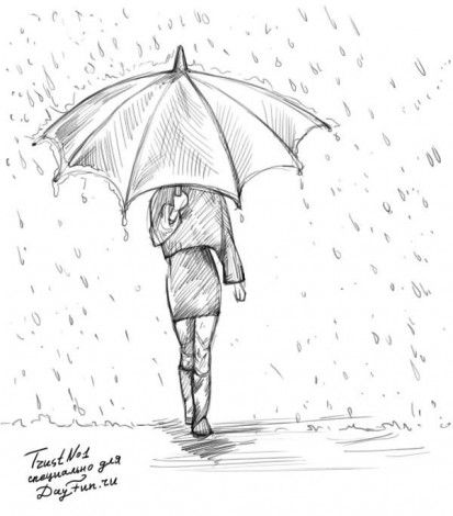 Как нарисовать дождь карандашом