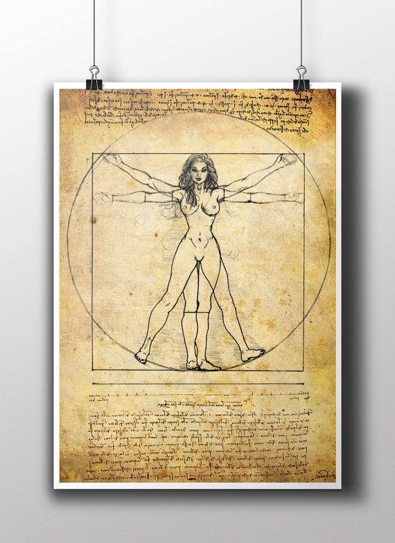 Mujer de Vitruvio Leonardo Da Vinci cartel por TattooHarbourPrints