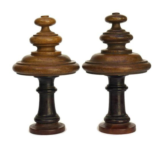 Fancy Finials Wood Curtain Rods Salvaged Decor Spindle Design