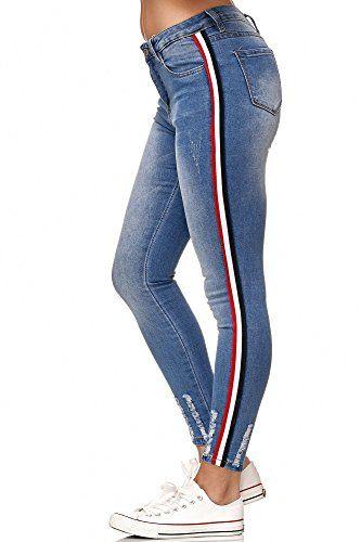 e547a9ae8bfba1 JillyMode hochwertige Damen High Waist Stretch Hose Skinny I Jeans I Weiß I Grau  Gr.