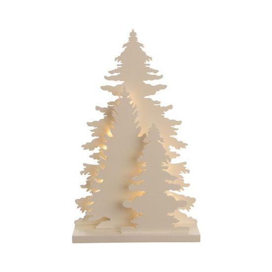Houten kerstboompje met LED. Een houten plaat met 3 houten bomen met onderin warm wit LED licht. Formaat: ongeveer 15 x 4,5 x 25 cm. Exclusief 2 x AA batterijen.