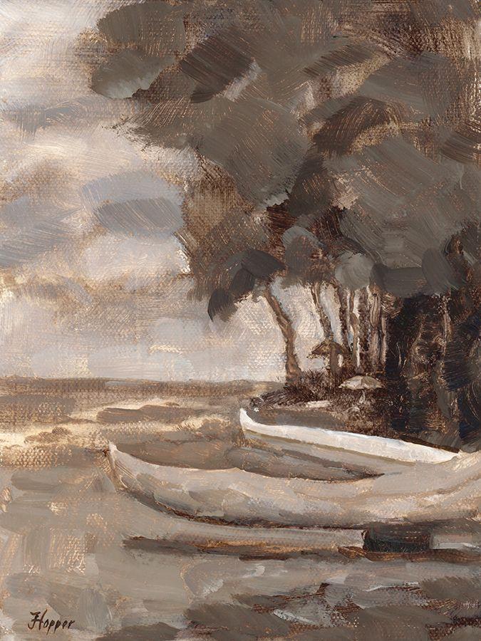 Plein Air Oil Sketch of canoes near Lahaina, Maui. 8 x 6