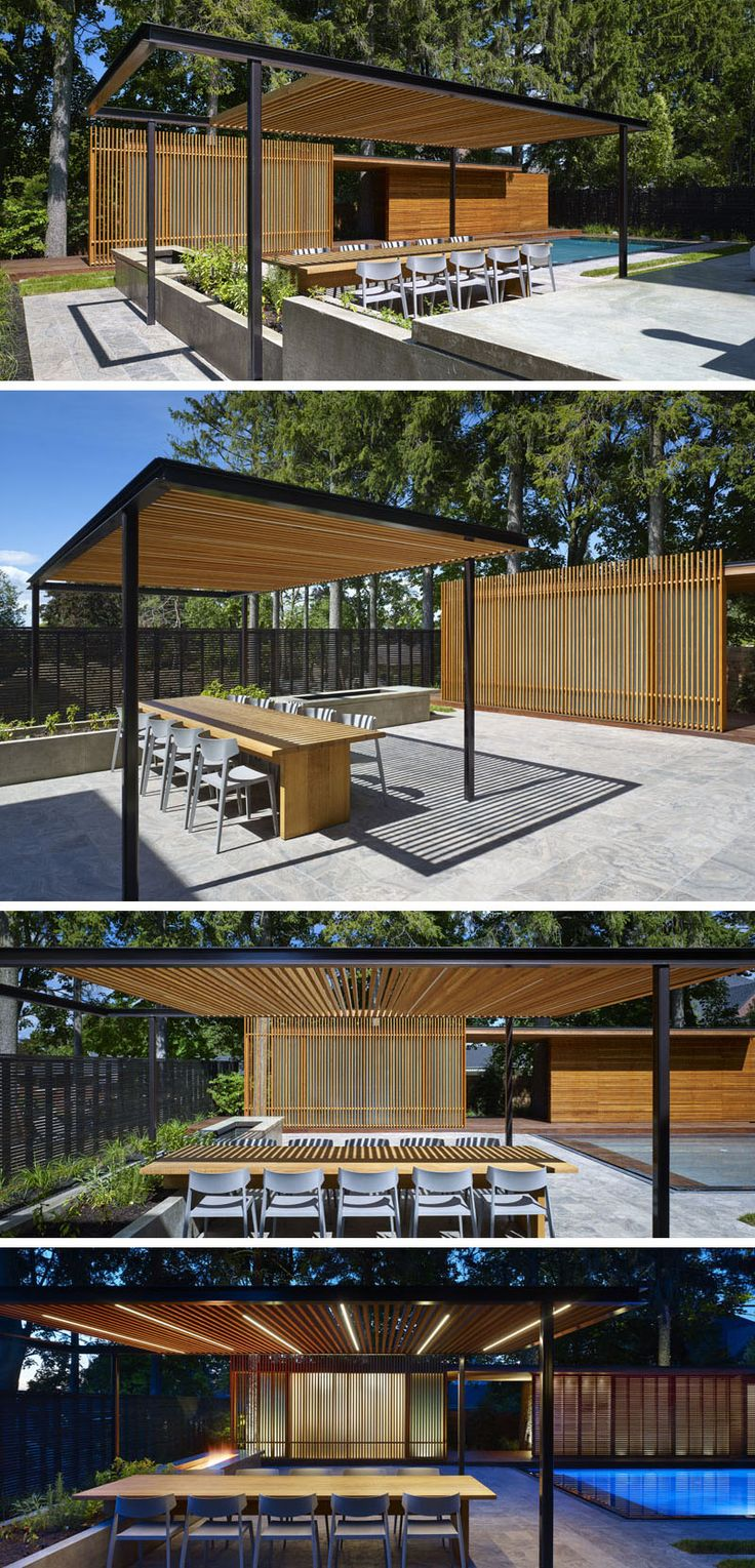 This modern landscaped backyard has a grassy lawn, a swimming pool, an outdoor kitchen with wood burning pizza oven, an outdoor dining space with trellis, a firepit, and a pool house with bathroom and change room.