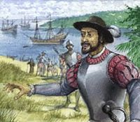 PONCE de LEON in 1513 sailed NW from Puerto Rico in search of rumored wealth and it was later said, youth giving waters, discovered the Florida peninsula.  Landing in the vicinity of St. Augustine, he claimed the territory for Spin and gave it the poetic name La Florida, because he first sighted it's shores during the Easter season (Pascua Florida)