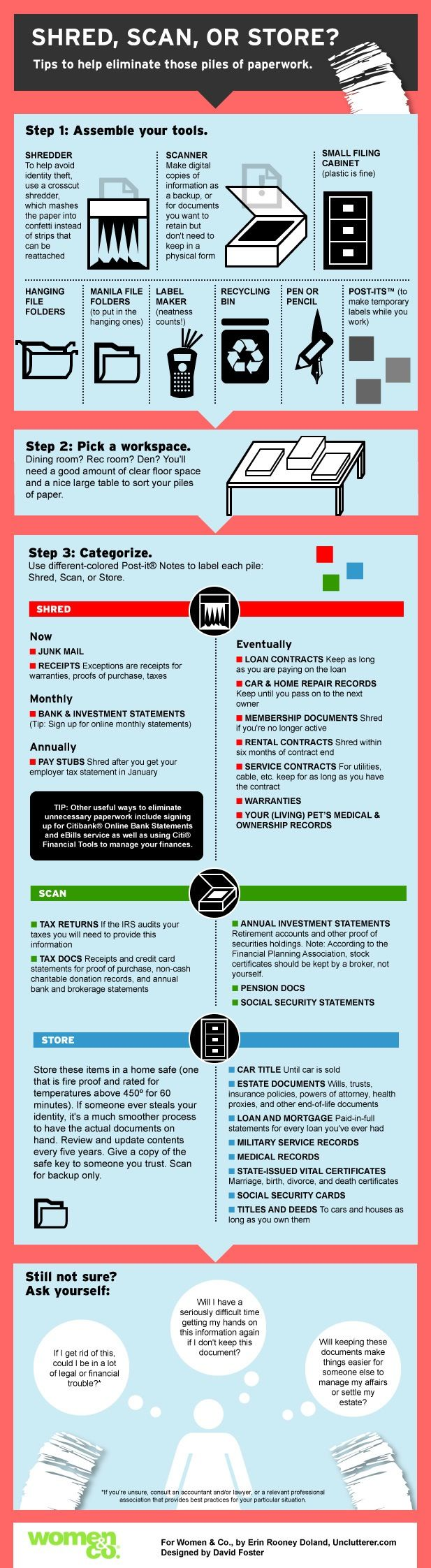 Getting organized paperwork to shred scan or store infographic women co