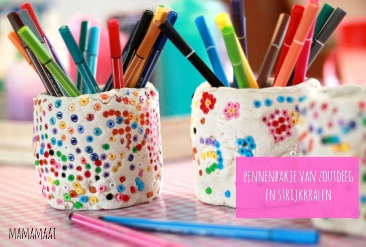 hamabeads, strijkkralen, pennenbakje van zoutdeeg en strijkkralen maken, knutselen met kinderen