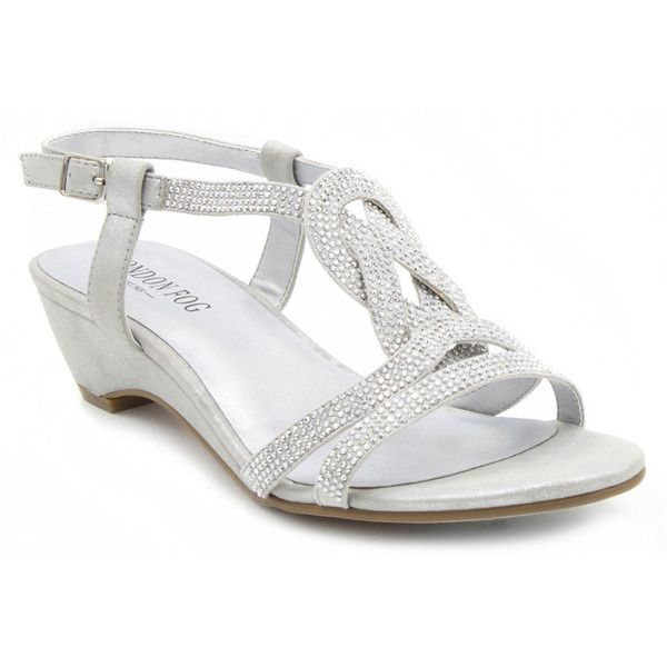 London Fog Macey Women's Silver Sandal (62 CAD) ❤ liked on Polyvore featuring shoes, sandals, silver, silver dress sandals, strap wedge sandals, strappy wedge sandals, dress sandals and silver sandals