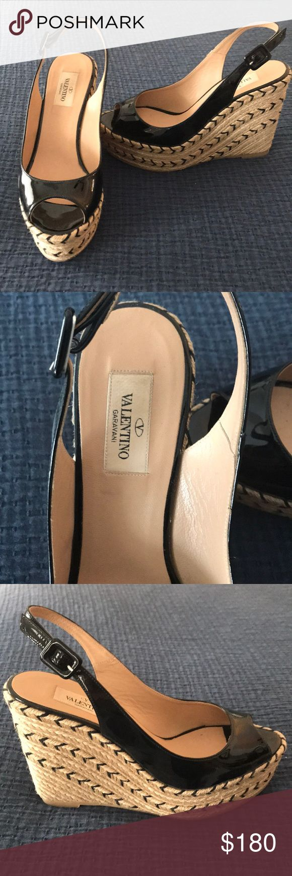 Valentino Wedge Espadrilles Worn only once, beautiful shoe! Patent leather upper with woven platform wedge. Valentino Shoes Wedges