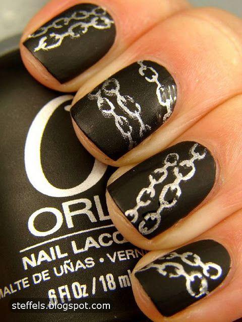 Orly Matte Vinyl and China Glaze MillenniumMatte Nails, Silver Chains, Nails Design, China Glaze, Chains Nails, Black Nails Art, Matte Black, Chains Link, Matteblack