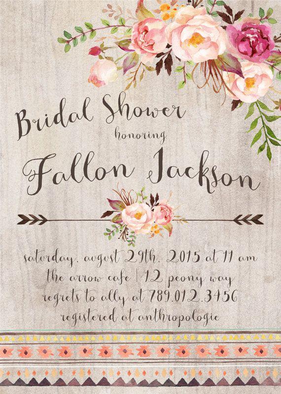 Bridal Shower Invitation, Modern Wedding Shower, Boho Chic ...