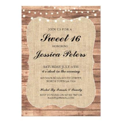 #Sweet 16 Burlap Lights Rustic Wood Invitation - #saturday #saturdays