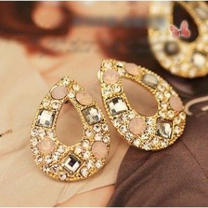 Pink Drop Shape Stud Earring