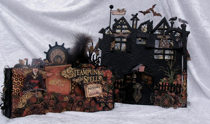 Steampunk Spells spooky House stand for the mini album - Blog tutorial