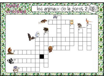 mots croisés sur les animaux de la forêt 2
