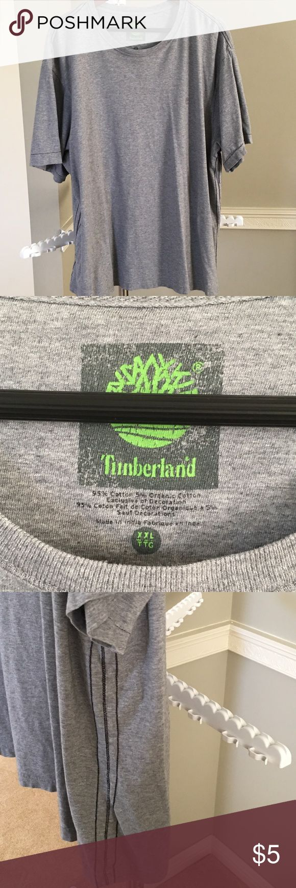 """Men's Timberland T-Shirt Men's Timberland T-Shirt. Gently worn a couple of times.  Heather Gray with black piping on sides.  2XL, length is 30"""" Timberland Shirts Tees - Short Sleeve"""