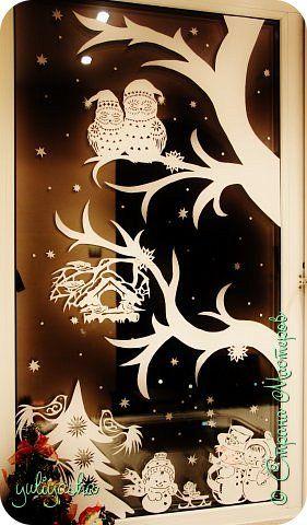 Картина панно рисунок Новый год Вырезание Новогодние окна Бумага фото 3