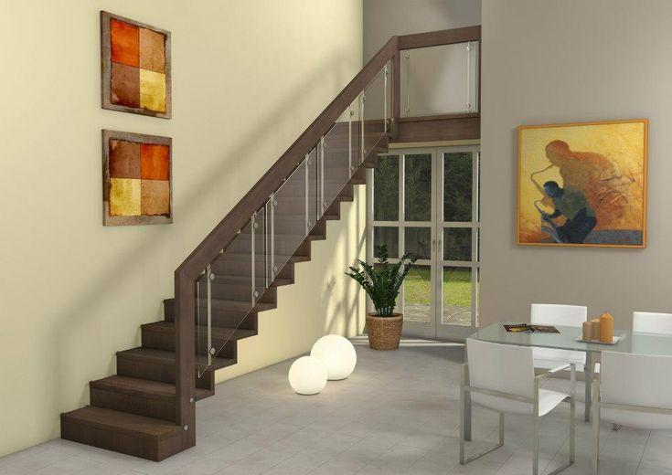 Escalier suspendu en bois moderne marche et contremarche avec remplissage du garde-corps en verre. Plus d'idées sur : www.escaliers-passionbois.com