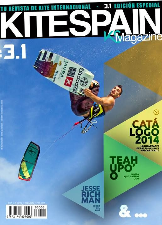 Youri Zoon with his Javra printed kiteboard ... in KITESPAN magazine cover