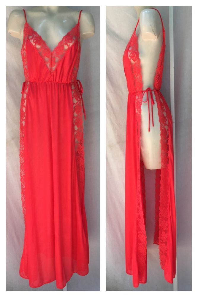 Pandora Lingerie by Chic Vintage Red Lace Open Side Double V Back Sexy Gown Sz S | eBay