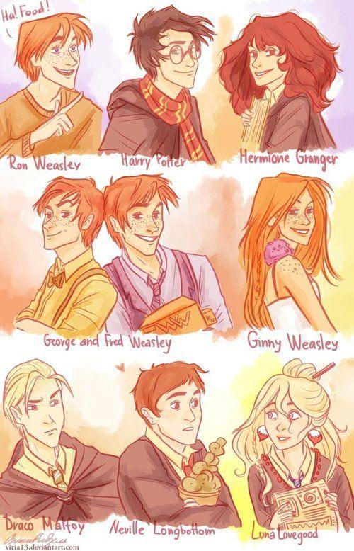 Harry Potter - Now Generation (Ron Weasley, Harry Potter, Hermione Granger, George Weasley, Fred Weasley, Ginny Weasley, Draco Malfoy, Neville Longbottom, Luna Lovegood.     Love the cartoony style.