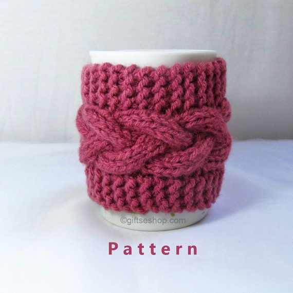 Cabled Cup Cozy Knitting Pattern Coffee Mug Cozy by lanadearg