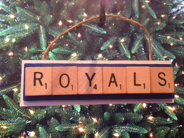 Kansas City Royals Scrabble Tiles Ornament Handmade Holiday Christmas by ProDraftKits on Etsy https://www.etsy.com/listing/254584895/kansas-city-royals-scrabble-tiles