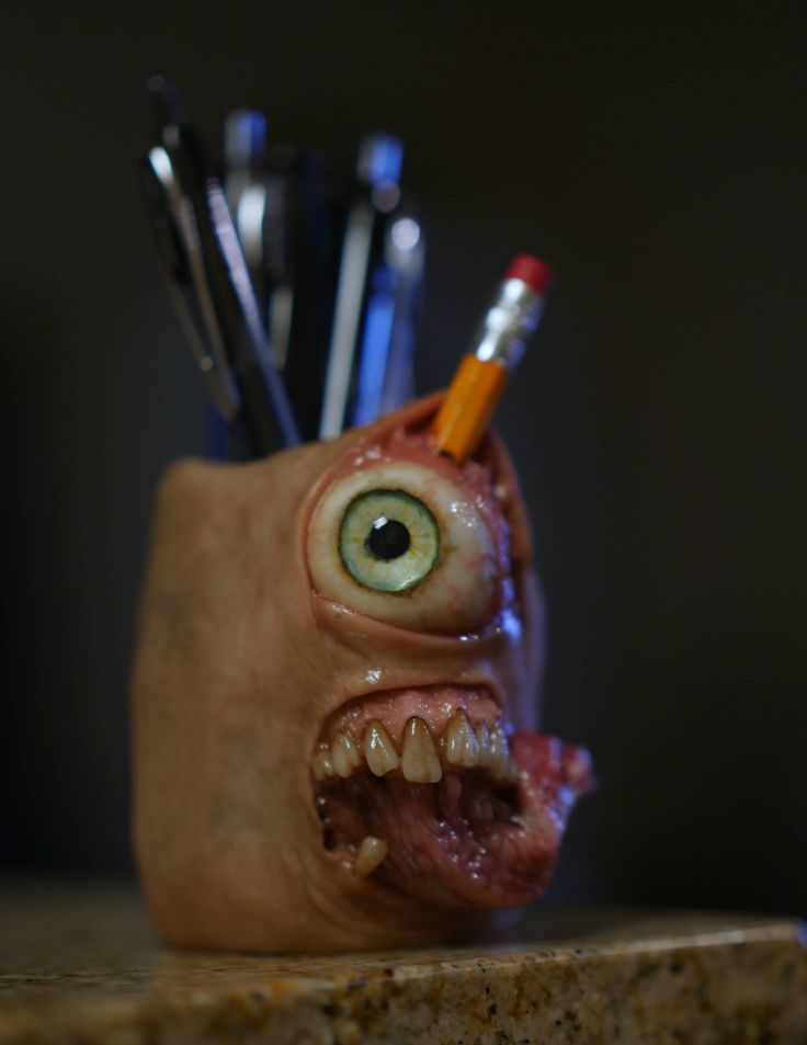 Don't run with you pencils! - Tool Holder - glow in the dark eye,  pencil holder, brush holder, small sculpure, household, OOAK by MorgansMutations on Etsy https://www.etsy.com/listing/554813877/dont-run-with-you-pencils-tool-holder